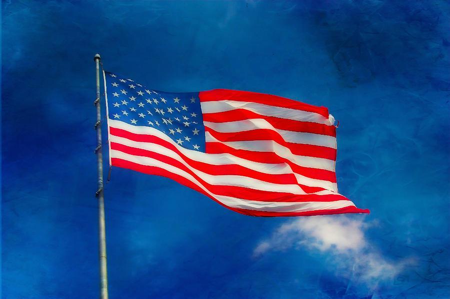 Flag Photograph - Long May She Wave by Joan Bertucci