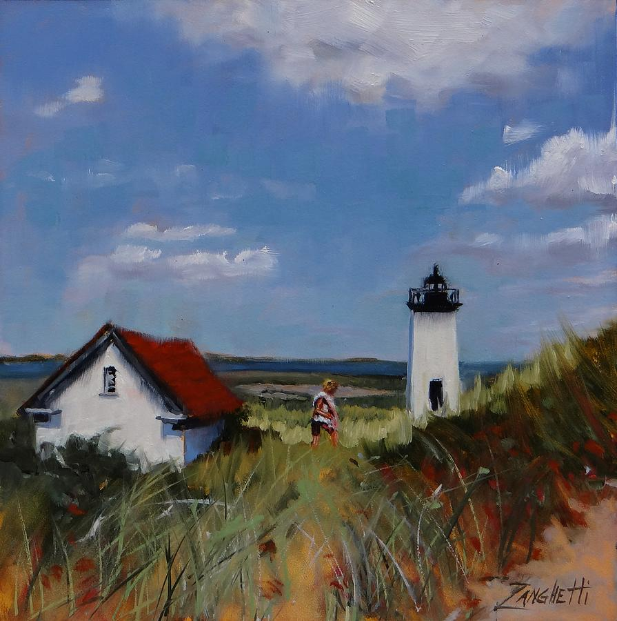 Lighthouse Painting - Long Point Lighthouse by Laura Lee Zanghetti