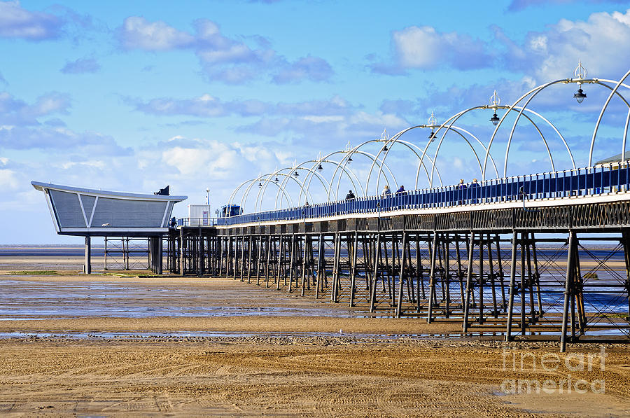 English Photograph - Long Seaside Pier At Southport - England by David Hill