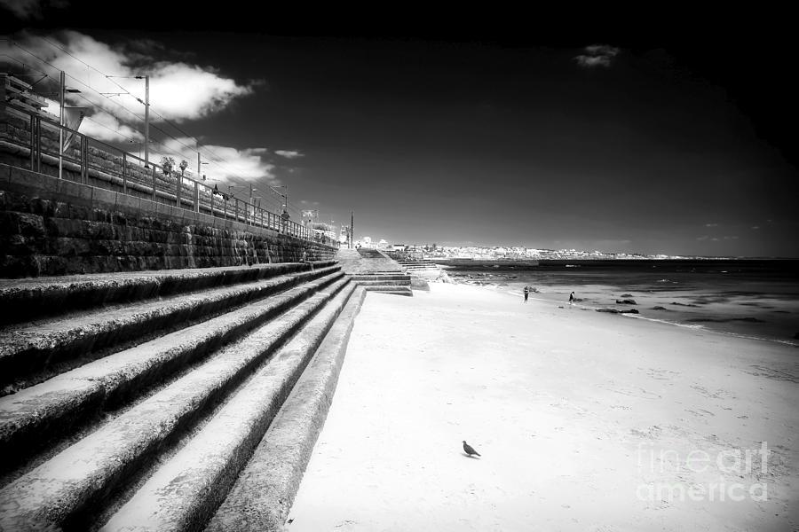 Beach Walk Photograph - Long Walk In Cascais by John Rizzuto