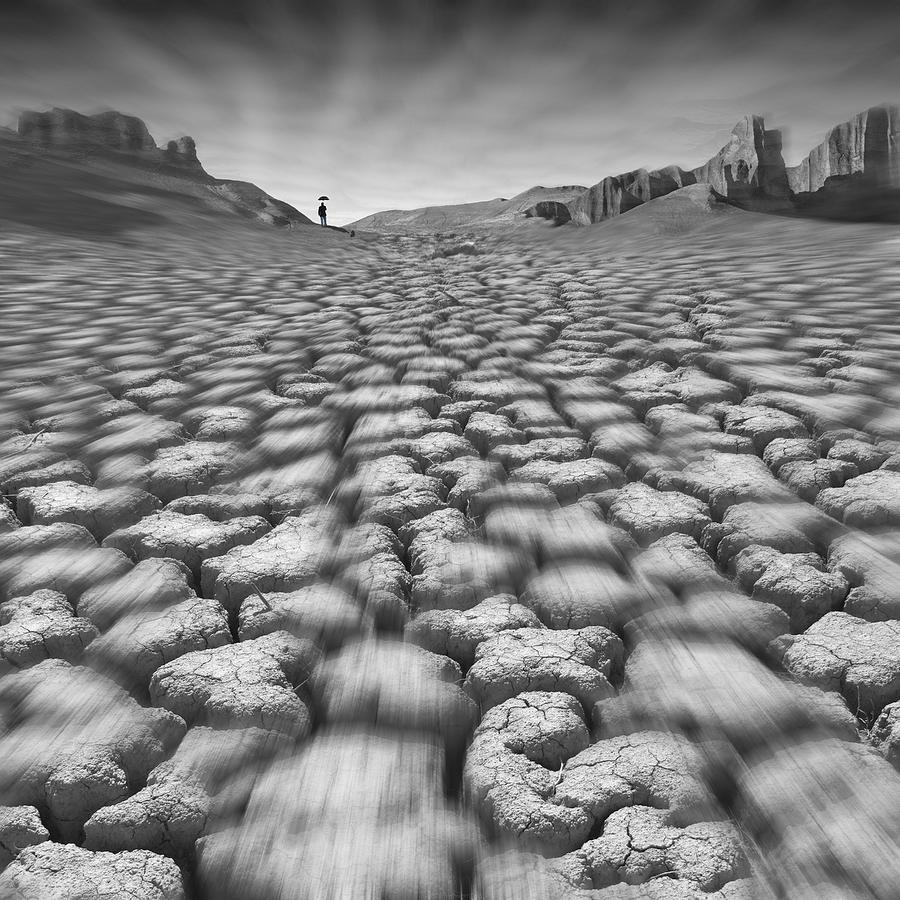 Cracked Desert Photograph - Long Walk On A Hot Day by Mike McGlothlen
