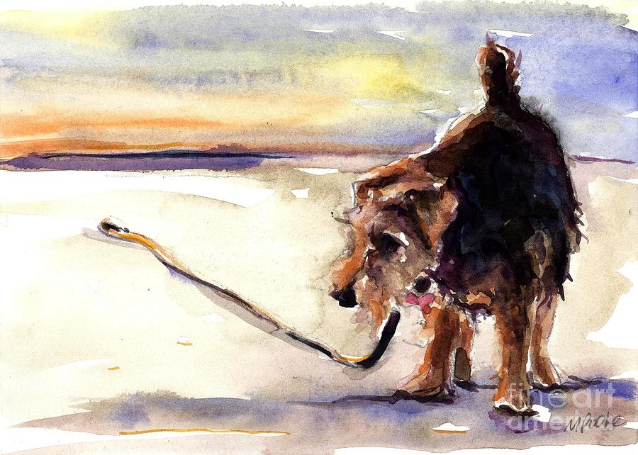 Terrier Painting - Long Walks And Sunsets by Molly Poole