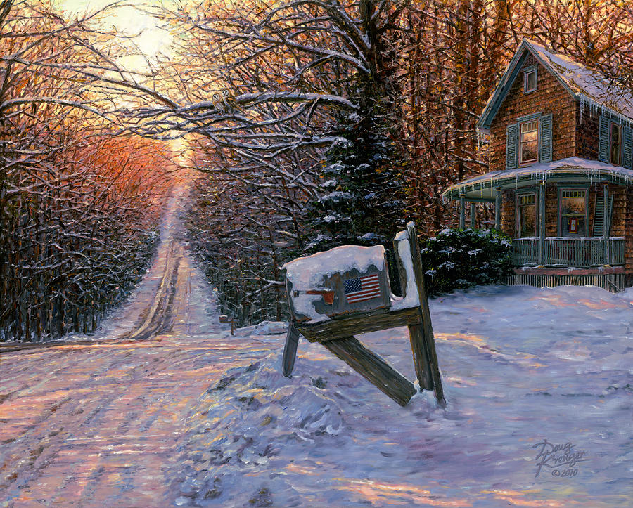 Winter Landscape Painting - Long Way From Home by Doug Kreuger