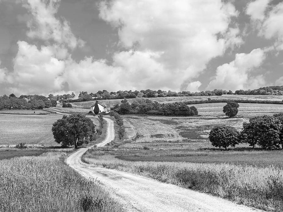 Black And White Landscape Photograph - Long Winding Road In Black And White by Gill Billington
