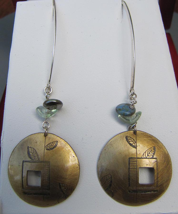 Dangle Earrings Jewelry - Long Wire Brass Etched Blue Earrings by Brenda Berdnik