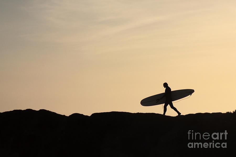 Surfer Photograph - Longboarder Crossing by Paul Topp