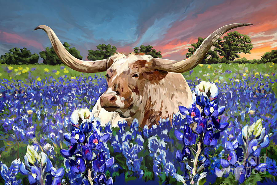 Longhorn Painting - Longhorn In Bluebonnets by Tim Gilliland