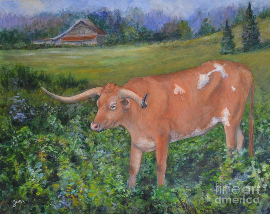 Cow Painting - Longhorn by Jana Baker