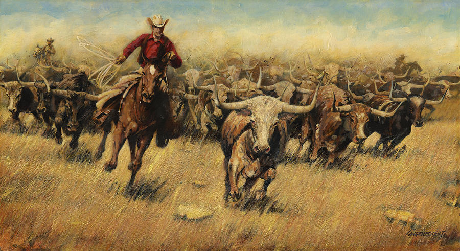 longhorn stampede painting by don langeneckert