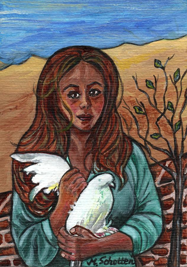 Girl Painting - longing for peace - Sehnsucht nach Frieden by Magdalena Schotten
