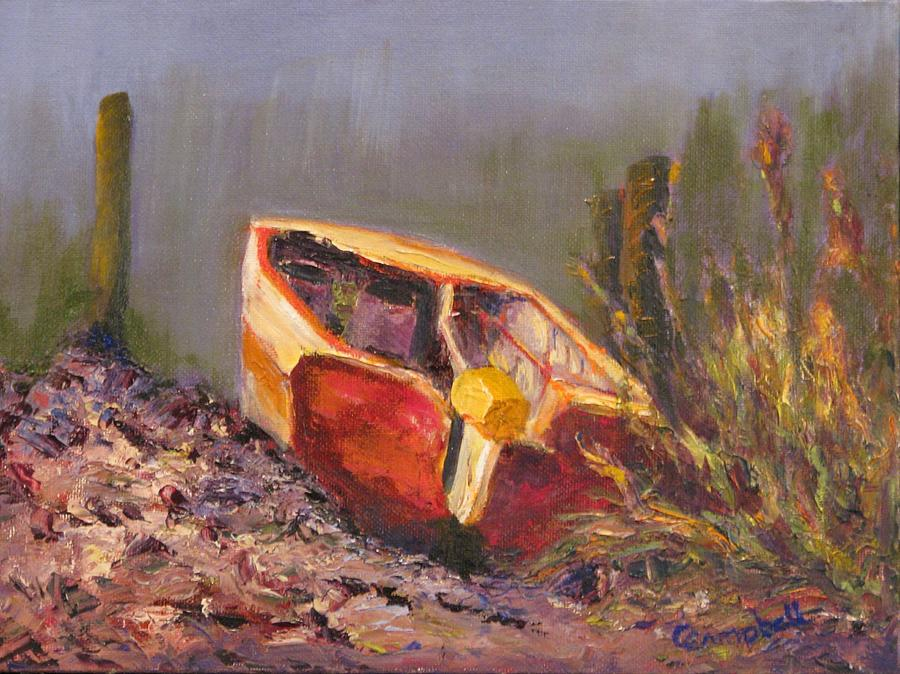 Oyster Boat Painting - Longing for the Tide by Cecelia Campbell