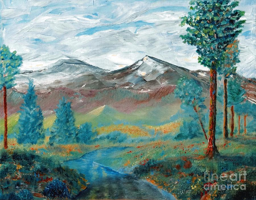 Landscape Painting - Longs Peak And Mt. Mitchell by Stephen Schaps