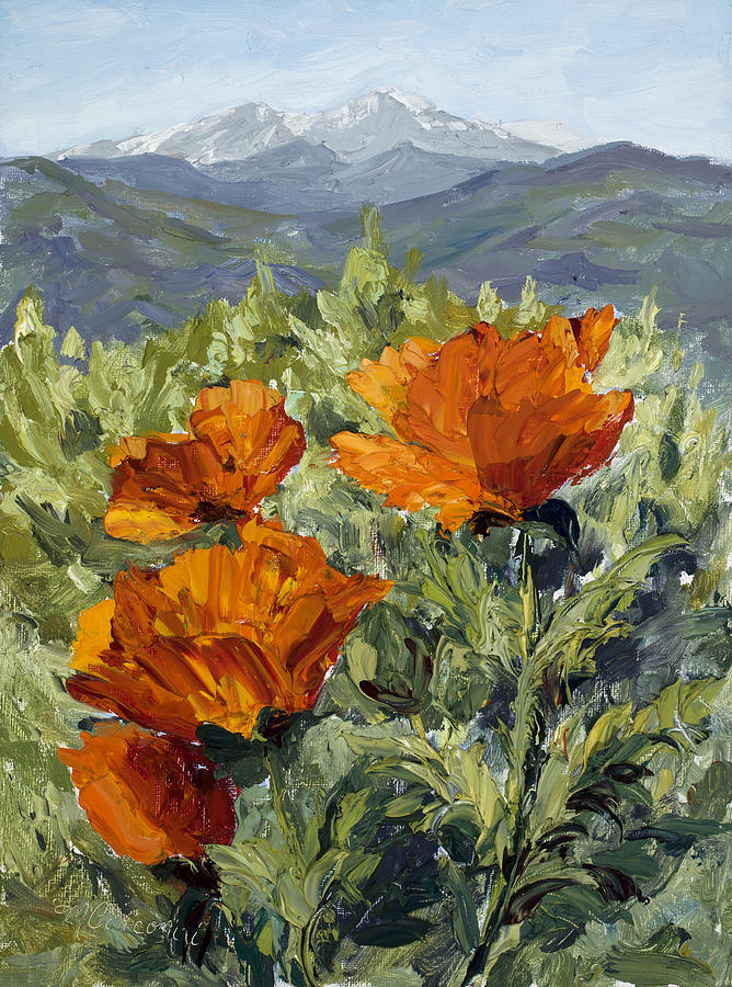 Longs Peak Poppies by Mary Giacomini