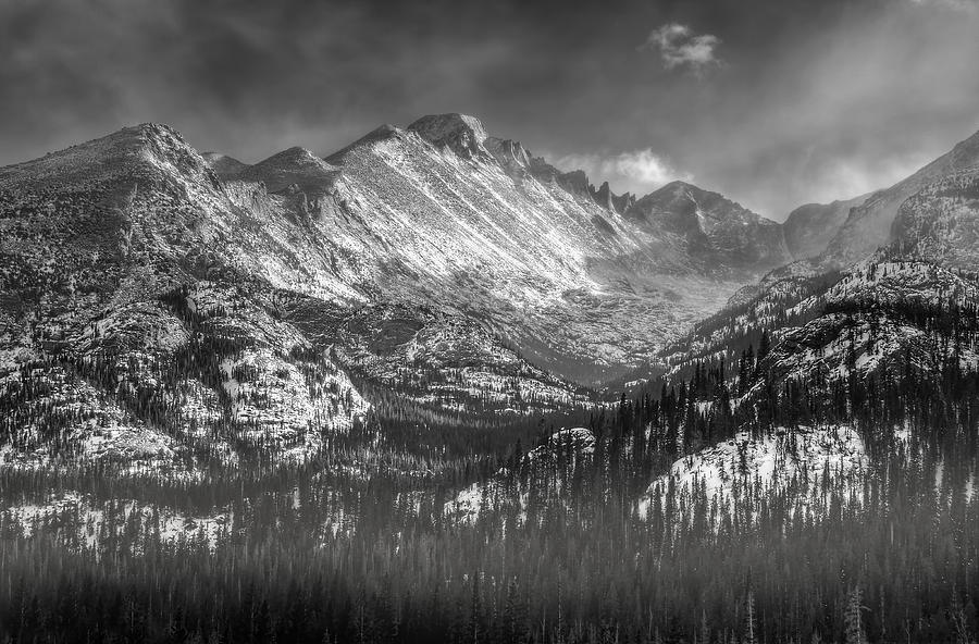 Longs Peak Photograph - Longs Peak Rocky Mountain National Park Black And White by Ken Smith
