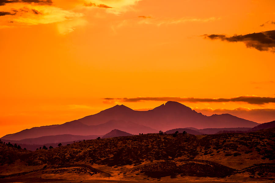 Longs Peak Photograph - Longs Peak Smoke And Sunset by Rebecca Adams