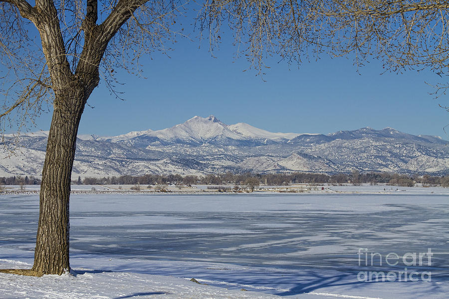 Twin Peaks Photograph - Longs Peaks Winter Landscape View by James BO  Insogna