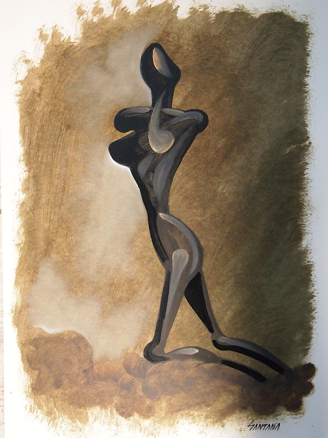 Lonliness Alone Despair Solitude Dark Figure Female Distraught Painting - Lonliness by Dayna Reed