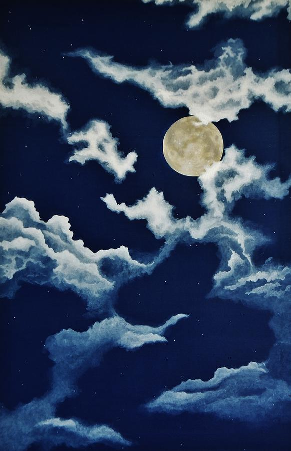 Print Painting - Look At The Moon by Katherine Young-Beck