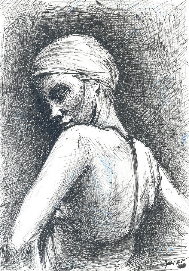 Ink Drawing - Look Back by Jovica Kostic