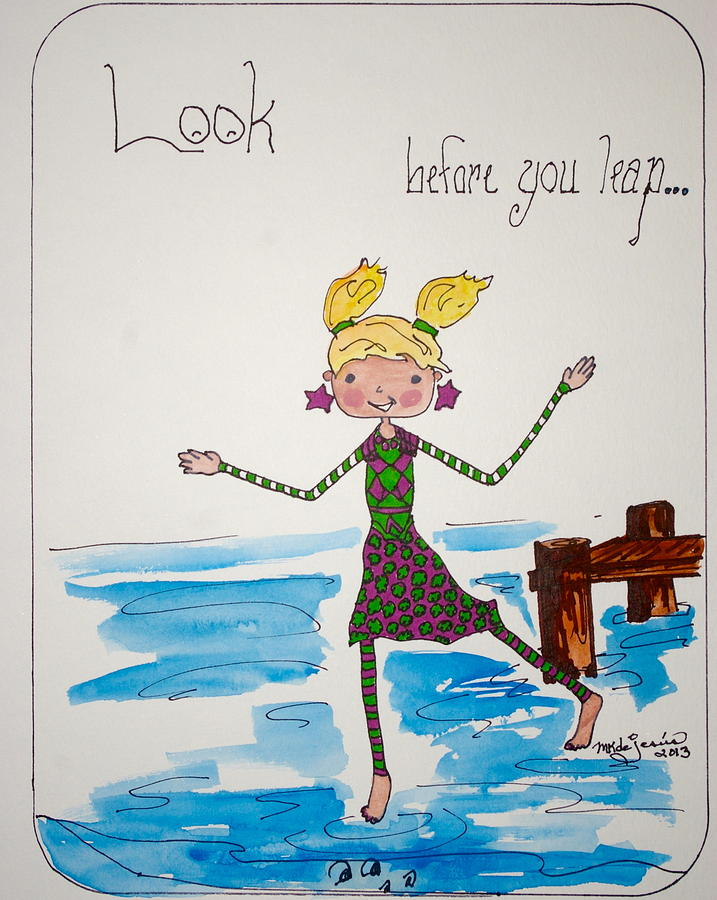 Alligator Drawing - Look Before You Leap by Mary Kay De Jesus