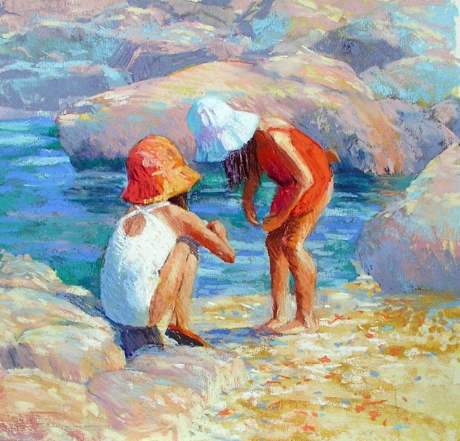 Children Playing Painting - Look What I Found by Jackie Simmonds