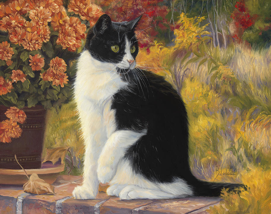 Cat Painting - Looking Afar by Lucie Bilodeau