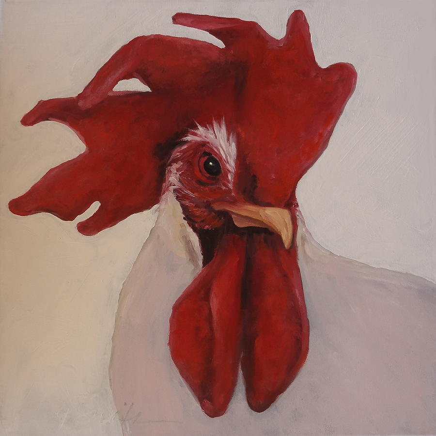 Rooster Painting - Looking Fierce by Kelley Smith