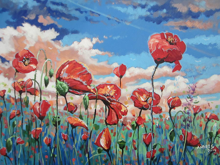 Poppies Painting - Looking For Beauty by Andrei Attila Mezei