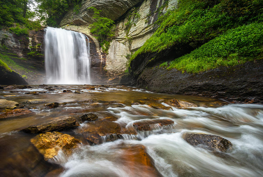 Looking Glass Falls Photograph - Looking Glass Falls - North Carolina Blue Ridge Waterfalls Wnc by Dave Allen
