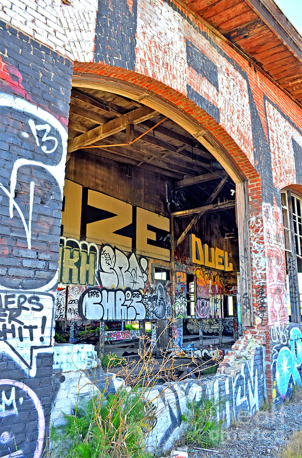 Destroyed Photograph - Looking Inside The Old Train Roundhouse At Bayshore Near San Francisco And The Cow Palace IIi  by Jim Fitzpatrick
