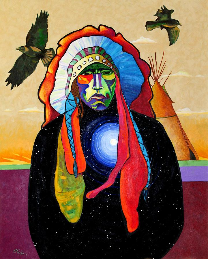 Native Painting - Looking Inward For Reality by Joe  Triano
