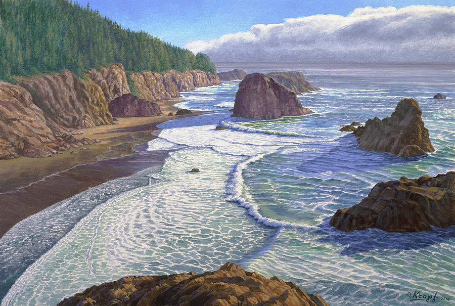 Sea Painting - Looking South- Oregon Coast by Paul Krapf