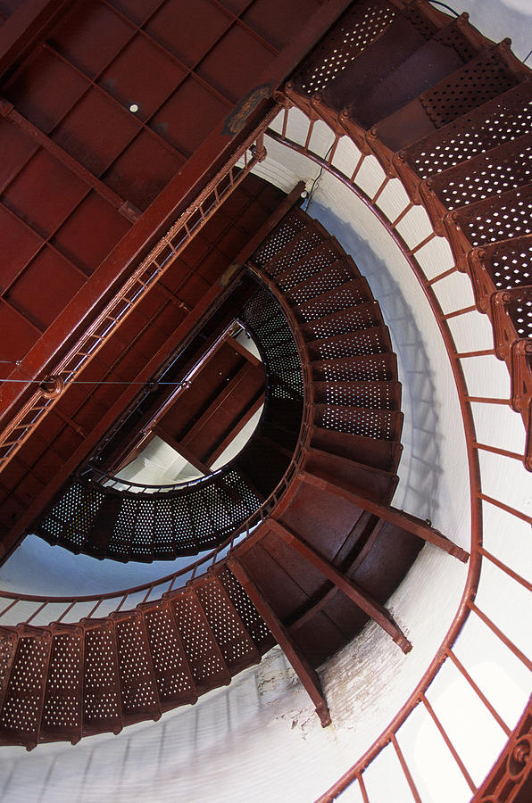 Lighthouse Photograph - Looking Up by Bernard  Barcos