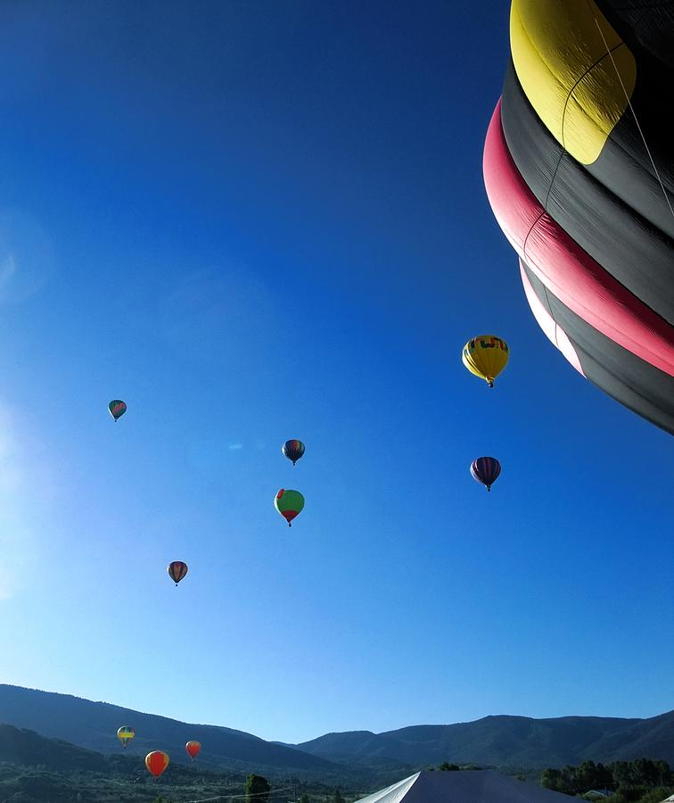 Balloons Photograph - Looking Up by Stephen Schaps
