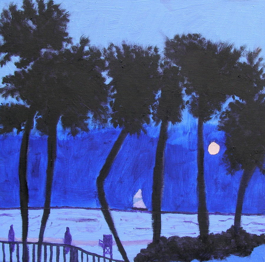 Ocean Painting - Looming Shore At Night by Artists With Autism Inc