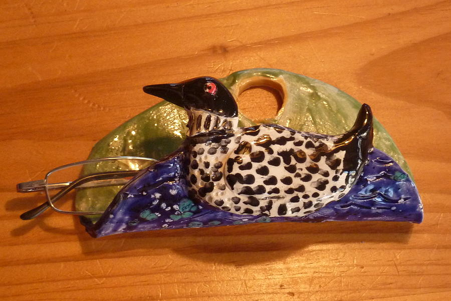 Loon Sculpture - Loon Eyeglass Holder Handmade From A Lump Of Clay  by Debbie Limoli