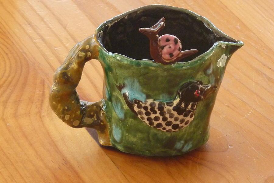Serving Sculpture - Loon Turtle Pink Snail Creamer by Debbie Limoli