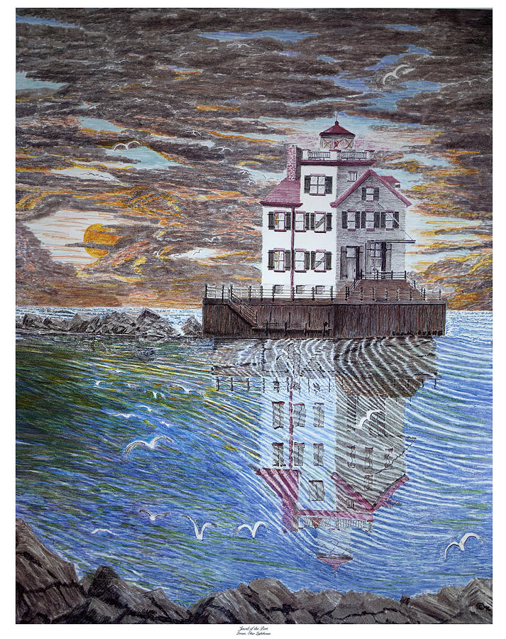 Ohio Drawing - Lorain Lighthouse by Frank Evans