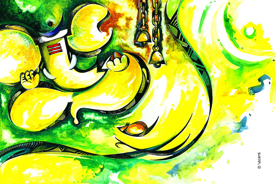 Lord Ganesha Abstract Art Painting By Vecras