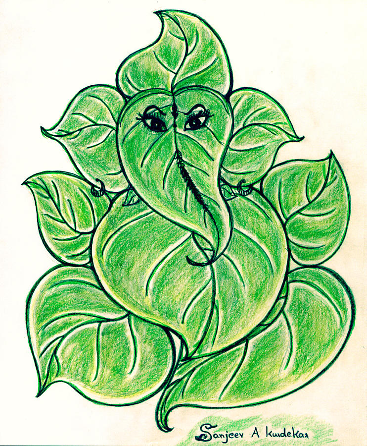 Ganesha Drawing With Leaves