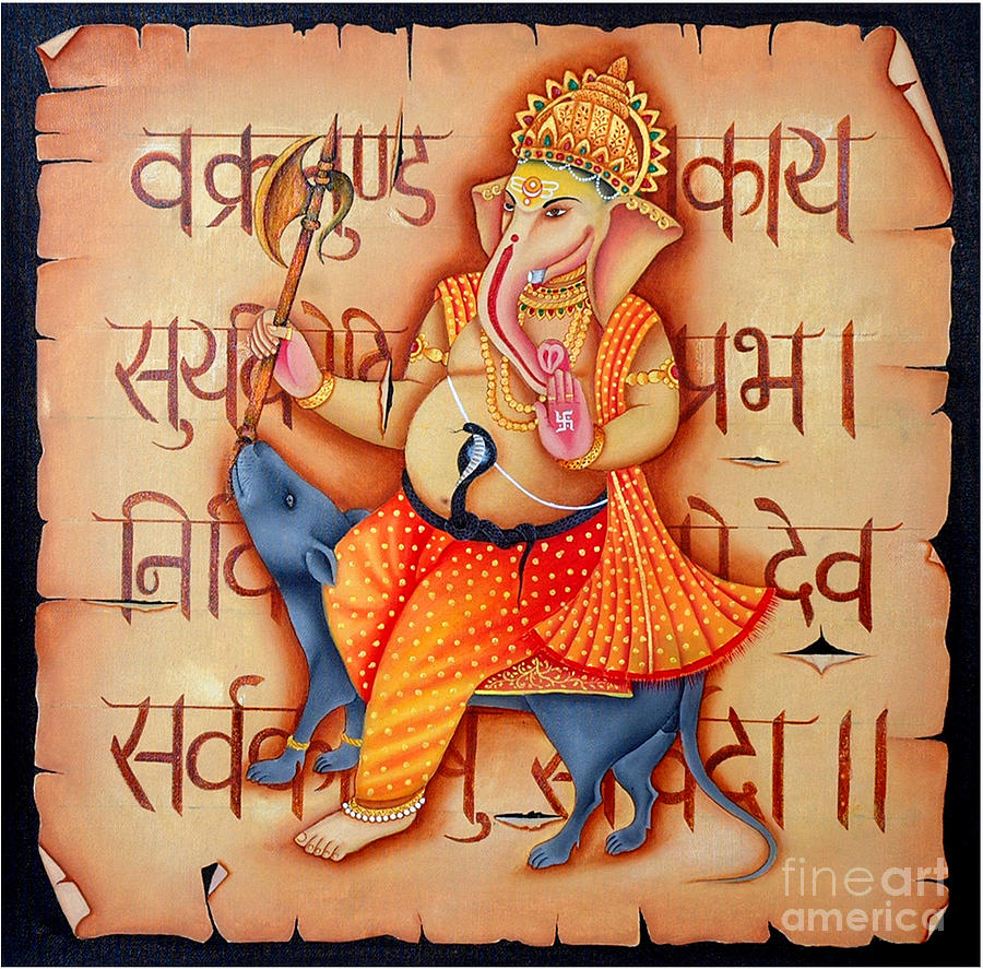 Lord Ganesha Painting by Ravi Kumar