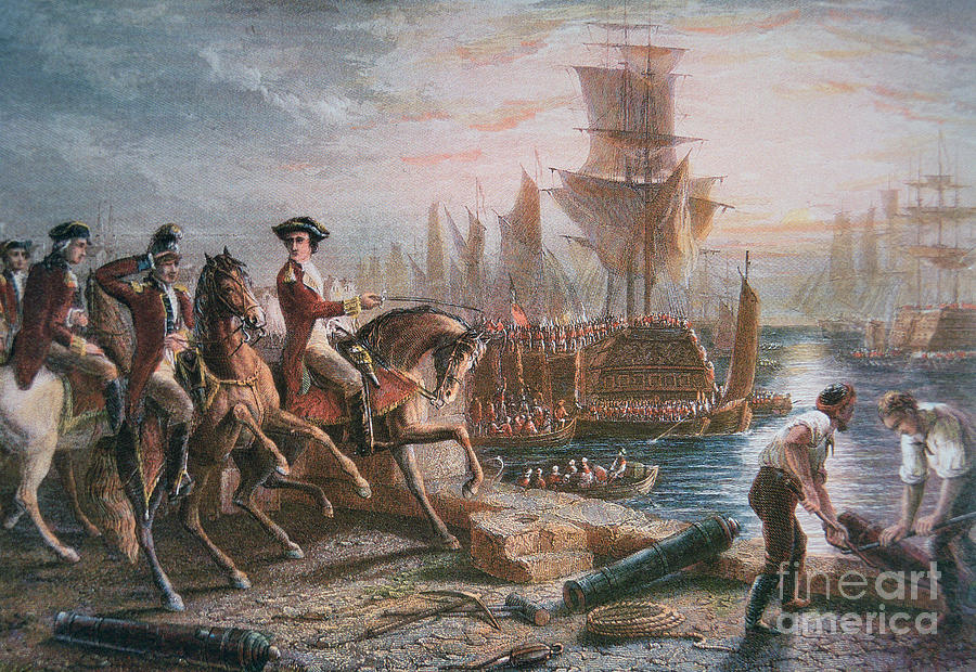 British Army; Cavalry; Ship; Boat; Navy; Naval; American; Us; United States; American Revolutionary War; Escape; Evacuation; Directing; C18th; Defeat Painting - Lord Howe Organizes The British Evacuation Of Boston In March 1776 by English School