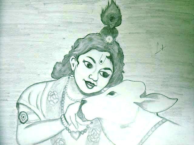 Lord Krishna Godess Drawing By Sumit Rana
