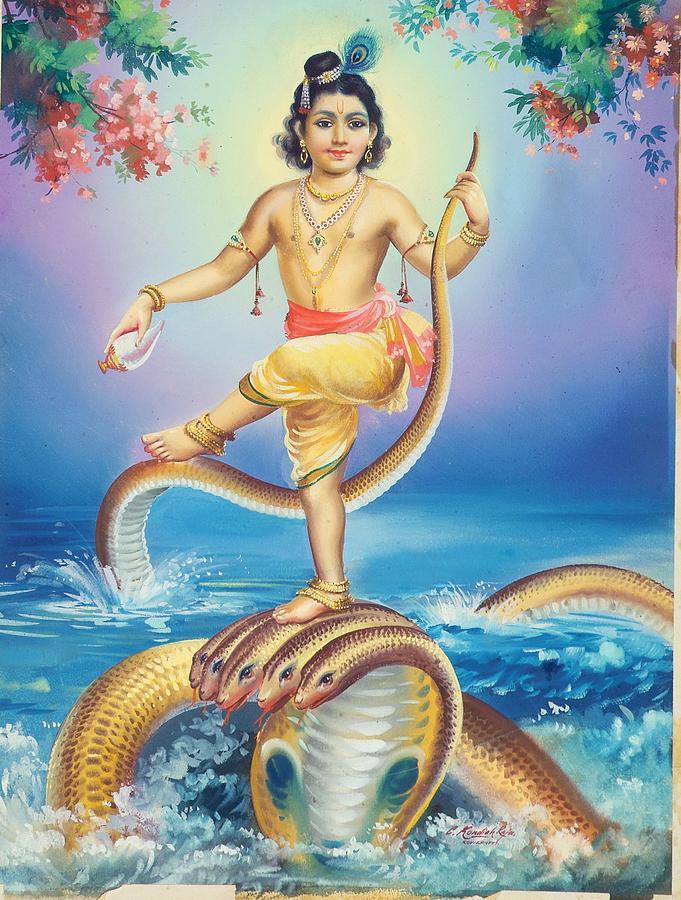 Calendar Art Of Hindu Gods : Lord krishna painting by r vijayann