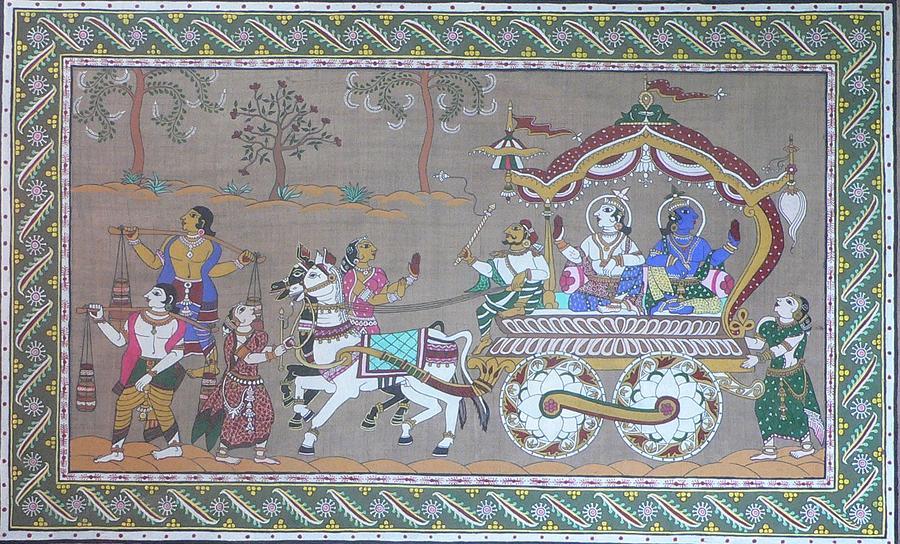 Mythological Painting - Lord Krishna With Brother Visiting Mathura by Prasida Yerra