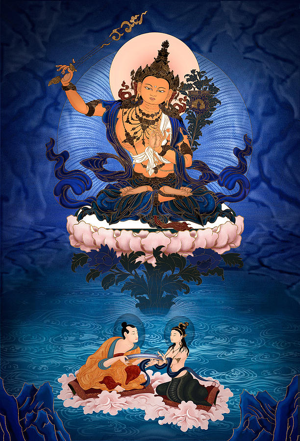 Manjusri Digital Art - Lord Manjushri - Arya Nargajuna and the Naga Queen by Ben Christian