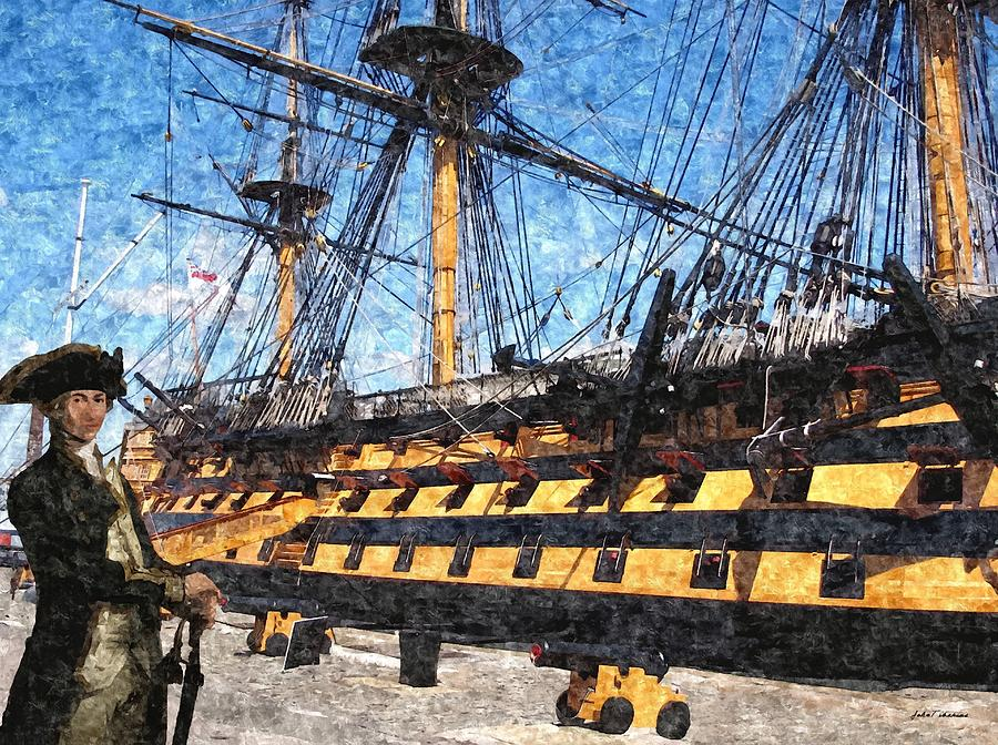 Paint Painting - Lord Nelson And The Hms Victory by Janos Szijarto