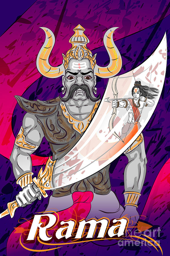 Mythological Digital Art - Lord Rama With Demon Ravana In Happy by Vecton