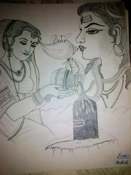 Lord Shiva With Parvati Drawing By Anchal Gupta