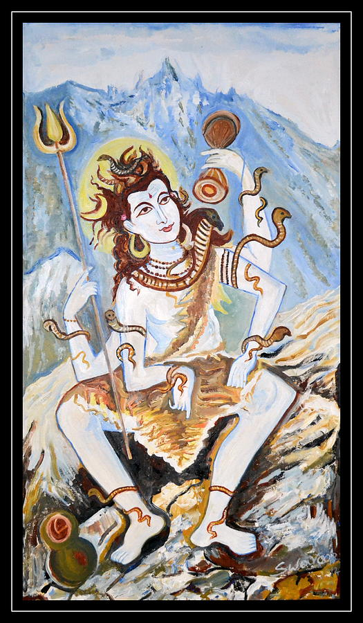 Lord Siva-space Abstractions Paintings In Oils On Canvas-space Abstractions Paintings In Oils On Canvas-space Abstractions Paintings In Oils On Canvas Painting - Lord Siva-the Creator by Anand Swaroop Manchiraju